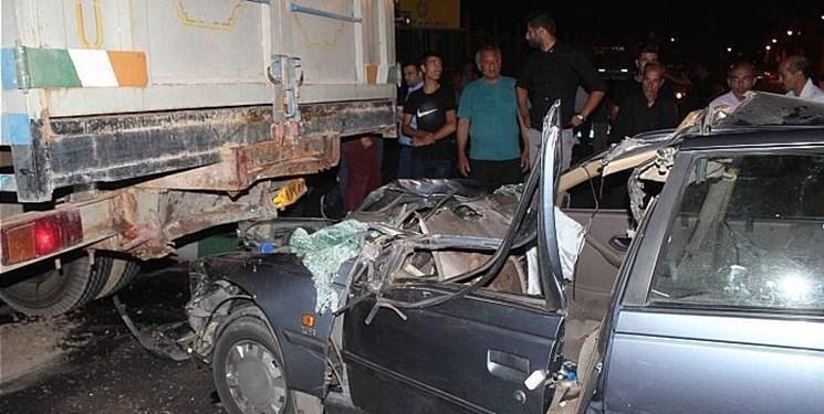 تصادف مرگبار پژو405 با کامیون در بندرعباس